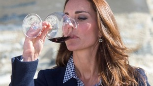 The Duchess of Cambridge tastes some wine during a vineyard tour in New Zealand.