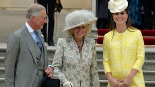 The Prince of Wales, the Duchess of Cornwall and Duchess of Cambridge attends a Garden Party in the grounds of Buckingham Palace