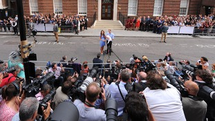 The Duke and Duchess of Cambridge leaving the Lindo Wing of St Mary's Hospital in London, with their son, Prince George