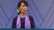 Burmese opposition leader Aung San Suu Kyi makes her speech in Oslo.