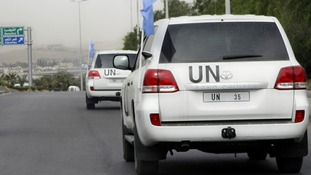 UN observer vehicles in Syria.