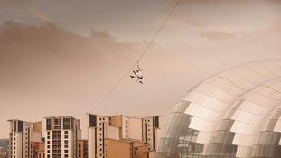 Missed it yesterday? Bear Grylls zip lining off the Tyne Bridge