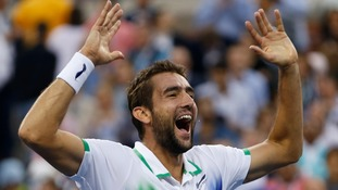Marin Cilic celebrates after defeating Kei Nishikori in the US Open men's final