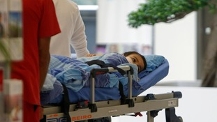 Ashya King arriving at the Proton Therapy Centre in Prague.