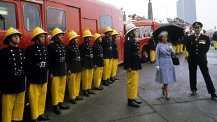 The Queen with London Fire Brigade in 1977