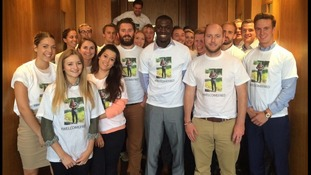 On his first day his colleagues wore t-shirts with his photo on
