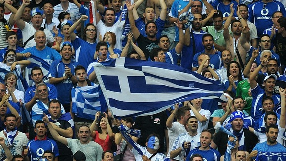 Greek fans go wild in the stadium