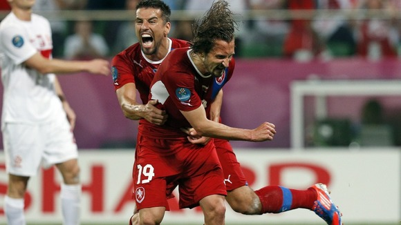 Jiracek and Baros celebrate the Czechs&#x27; goal
