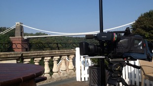 Ready to capture the cyclists as they race over the Clifton Suspension Bridge