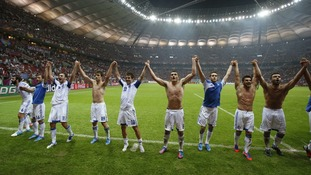 Greece's players celebrated in style on the pitch in Warsaw