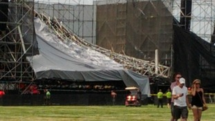 Jason Ip's photo shows how the scaffolding collapsed at the centre of the stage.