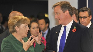 "Merkel and Britain's Prime Minister David Cameron have pledged to take the ""necessary action"" needed to secure global economic stability."