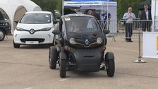 A Renault Twizy is put through its paces at Millbrook, Bedfordshire.