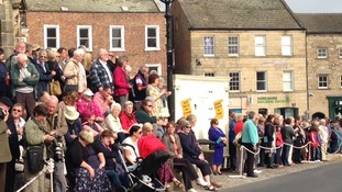 Crowds waiting for Princess Anne