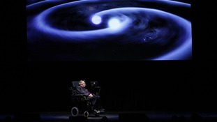Stephen Hawking appears on stage at Seattle Science Festival