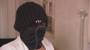 Irene Williams in a balaclava.
