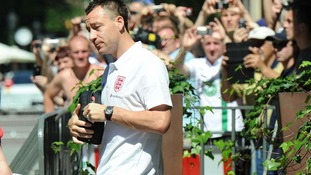 England's John Terry leaves the team hotel for a training session, in Krakow, Poland.