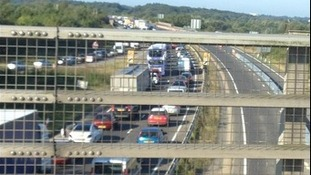 Tailbacks on the A47 at Postwick, Norfolk