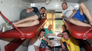 Fans on the train to Donetsk