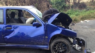 One of the cars involved in the crash in Ross on Wye