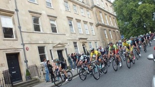 Front runners near the start of Stage 6 in Bath