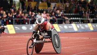 Joe won won the medals in the 100m, 200m, 400m and 1500m in the Men's Wheel IT4 category.