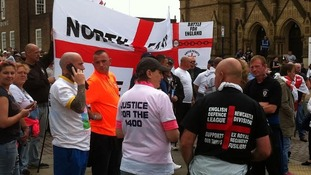 EDL members gather in Rotherham