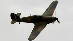 A Hurricane fighter aircraft at Duxford Airfield in Cambridgeshire.