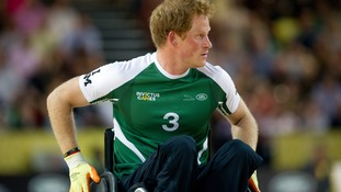 Prince Harry takes part in an exhibition match of wheelchair rugby during the Invictus Games in Londo