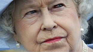 The Queen pictured with a bloodshot left eye
