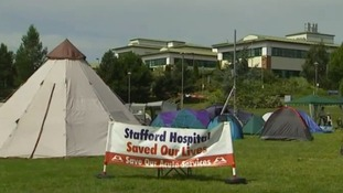 The camp outside Stafford Hospital in July