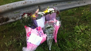 Flowers by the roadside on the A6