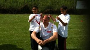 Steve Redgrave visits school children in Handsworth
