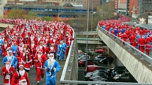 Around 10,000 took part in the 2013 Liverpool Santa Dash
