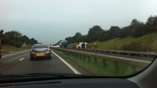 Overturned lorry on A1