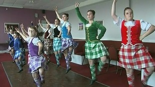 A Highland dancing troupe.