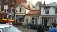 Firefighters tackle a blaze at a restaurant in Aldeburgh