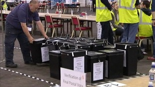 The postal vote ballot boxes at the Royal Highland Centre in Ingleston, Edinburgh.