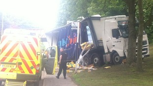 The lorry passed through the bridge in Tipton and hit a tree spilling the cereal