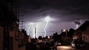 Last nights thunder and lightning storms in Chippenham,Wiltshire.