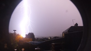 Last nights storm over Bath looking from Twerton to Lansdown