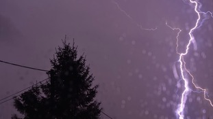 last night's thunderstorm taken through a window at Seend Cleeve