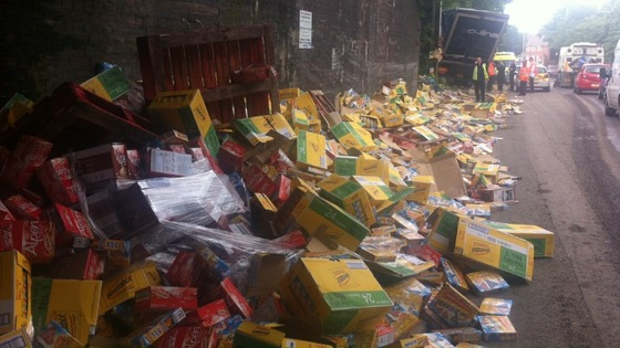 Thousands of Weetabix have spilled onto the side of the road after a lorry hit the bridge in Tipton