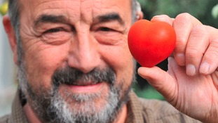 Rod and his heart-shaped tomato