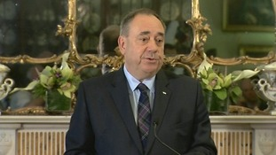 Alex Salmond announces he will step down as SNP leader and Scotland's First Minister.