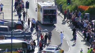 The Olympic Torch procession was attended by hundreds