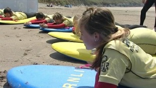 Children getting beach safety lessons