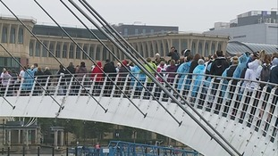 crowded Millennium Bridge