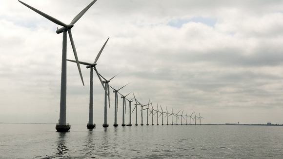 The Middelgruden wind farm off the cost of Denmark.