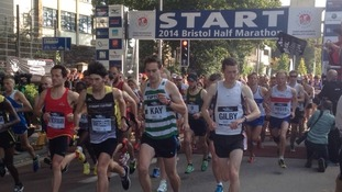 The elite runners setting off from Bristol's Harbourside